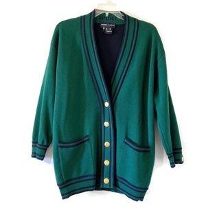 Escada Sport Green Button Down Varsity Sweater